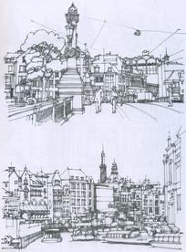 阿姆斯特丹水上景观线描