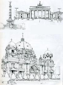 柏林大教堂线描手绘