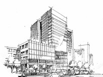办公建筑线描