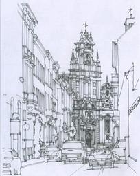 布鲁塞尔街景线描