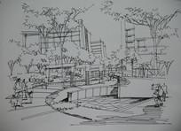 城市广场线描