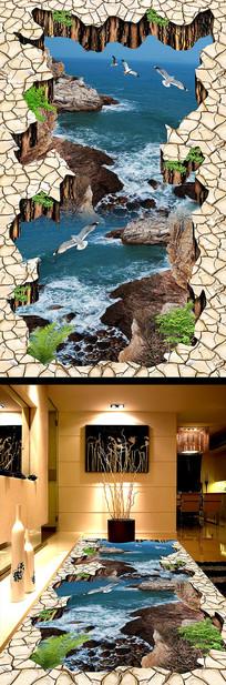 大海波浪3D地板地砖