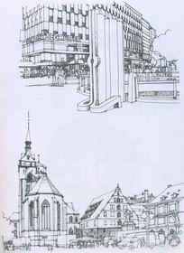 德国南部小镇线描手绘
