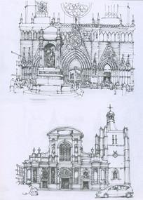 法国城市教堂建筑线描