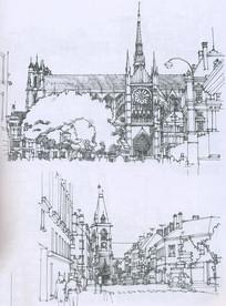 法国某城市街景线描