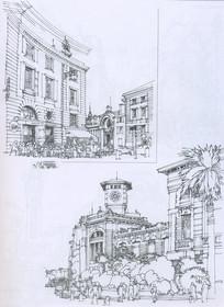 法国南部城市街景线描