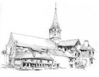 法国小镇教堂线描