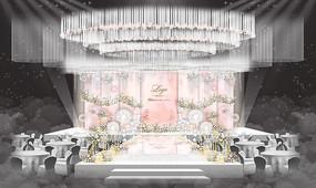 粉色婚礼舞台背景板