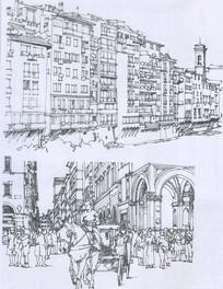 佛罗伦萨沿河建筑线描