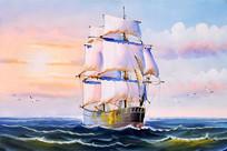 高清一帆风顺大海油画图