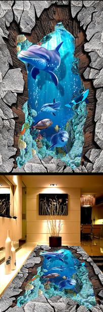 海洋世界浴室艺术3D立体画地画地板