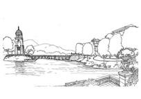 河流桥景观线描