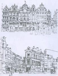皇宫广场建筑群线描