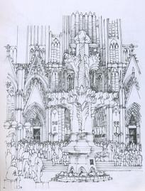 科隆大教堂线描手绘