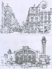 里昂火车站线描
