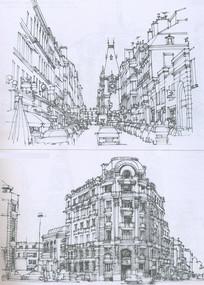 里昂市中心建筑线描