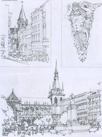 列日市中心主教堂广场线描