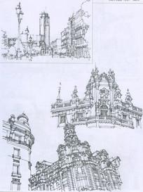 马德里街景建筑线描