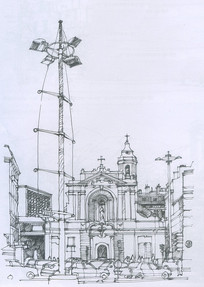 马赛老城区旧港口边教堂线描