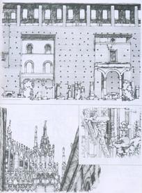 米兰主教堂线描手绘