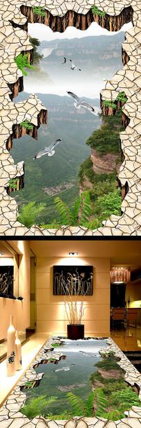 山崖天桥山峰山谷走道3D立体地画