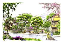 住宅小区广场彩色手绘
