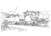 住宅小区景观线描