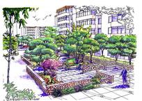 住宅小区休息公园透视手绘