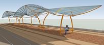 钢结构车站雨棚构架SU模型