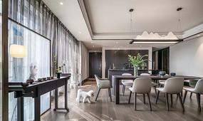 现代新中式住宅餐厅 JPG