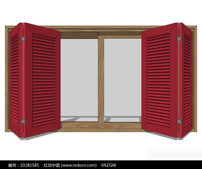 简欧红色开窗窗户图片