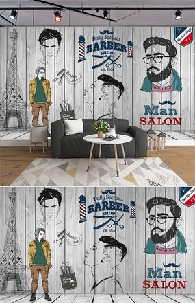 欧美手绘潮流理发店背景墙