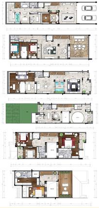 豪华别墅PSD分层彩色平面图