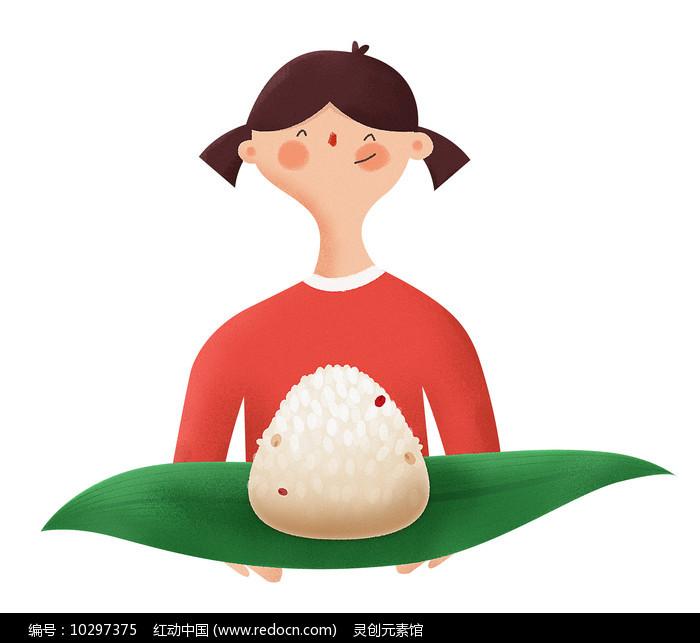 端午节卡通粽子女孩元素图片