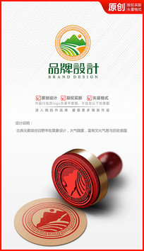 丰收田野风光logo设计商标标志设计