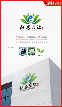 太极莲花logo设计商标标志设计
