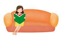 原创元素手绘坐沙发上看书的女孩