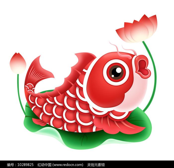 春节元素卡通锦鲤荷花元素图片