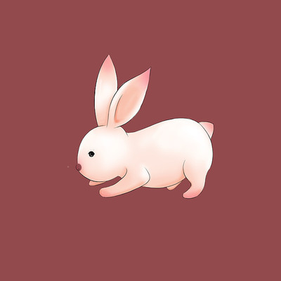 白色兔子手绘元素