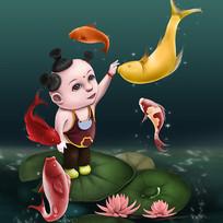 儿童与鱼手绘元素