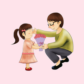 小孩给大人送鲜花原创元素