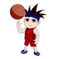 原创打篮球的小男孩手绘元素