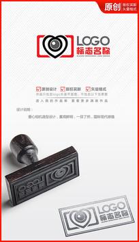 爱心浪漫相机logo设计商标标志设计