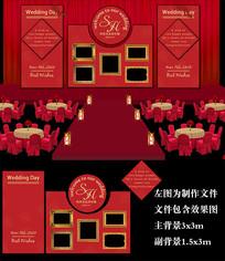 红色欧式婚礼舞台背景