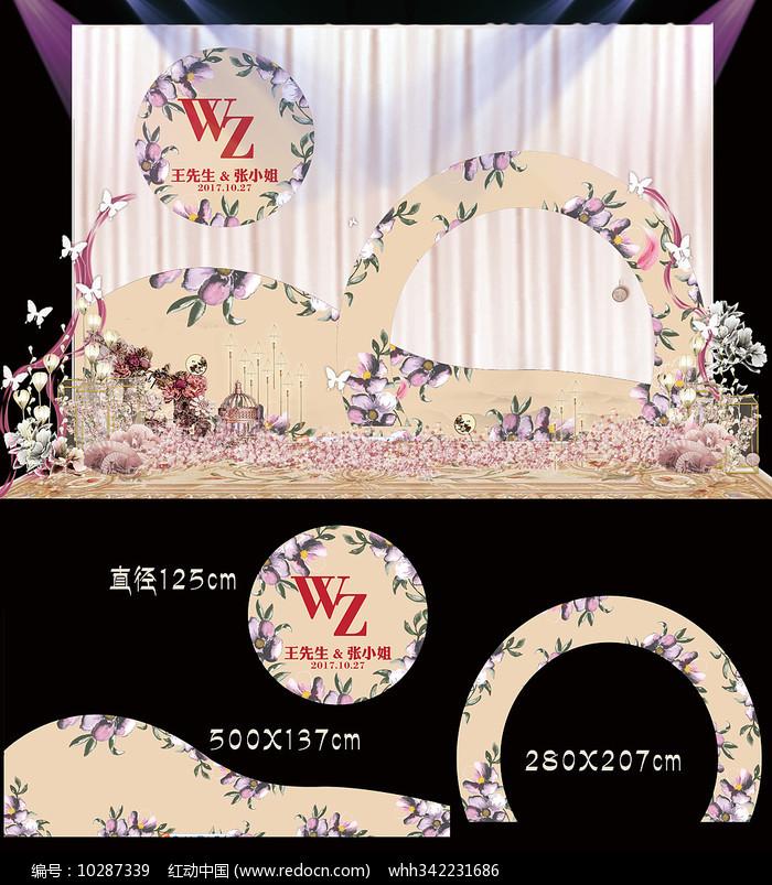 香槟金花卉婚礼甜品台图片