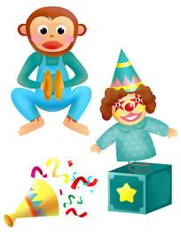原创元素六一儿童节击掌猴子 弹簧小丑 礼花