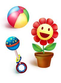 原创元素六一儿童节玩具花盆 球 摇铃