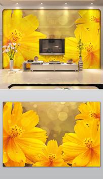 橙色现代鲜花沙发电视背景墙