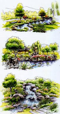 跌水亭子彩色手绘