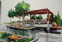 公园亭子景观手绘